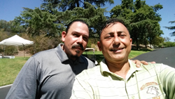 Actor and  lasik surgeon playing golf