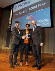 Swipii co-founders accepting Scottish Edge award from John Swinney