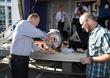 2014 Guild Festival - Mayor Faulconer taps ceremonial cask w/ 2014 SDBG President Brian Scott
