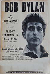 Vintage 1964 Bob Dylan Troy Armory in New York Concert Posters