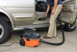 car cleaning with RIDGID shop vacuum