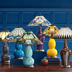 Tiffany Color Plus Brand Lighting Combines Colored Glass Bases With Tiffany Style Glass Shades