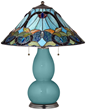 Reflecting Pool Blue Lamp With Harvest Shade