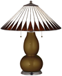 Bronze Metallic Lamp With Feather Shade