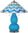 River Blue Lamp With Cascade Shade