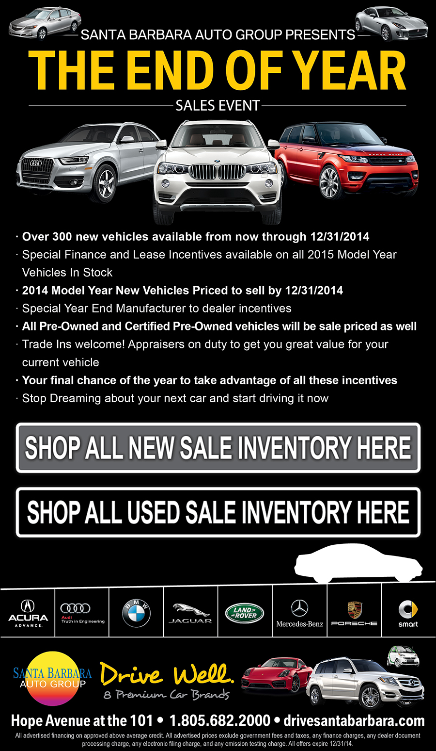 BMW Santa Barbara >> Santa Barbara Drivers Save Big at the 2014 End of the Year Car Sales Event at Santa Barbara Auto ...