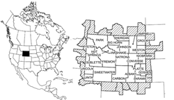 Project study area: counties of Wyoming, USA
