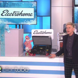 "Ellen presenting the Archer Turntable on Day 8 of 12 of Ellen's annual ""12 Days of Giveaways"" campaign"