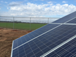 Close up of the photovoltaic cells at Super-Sod's turf farm, with turf production fields in the background.