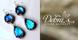 Blue Butterfly Glass Domed Teardrop Earrings from Debra's Divine Designs, as worn by Nakia Burrise (as Patty Pritchett) on The CW Network's Hart of Dixie.