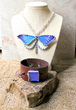 Women's Full Butterfly Necklace and Men's Blue Butterfly Leather Cuff.
