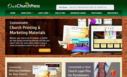 OurChurchPress developed an easy-to-use online design tool which allows users to customize the site's pre-designed templates and also gives users the ability to upload their own designs.