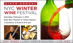 NYC Winter Wine Festival 2015: 250+ wines, light hors d'oeuvres, artisan food samples, and music by Special EFX live on stage. 2/7/15, 2 sessions: 3-6pm and 8-11pm.
