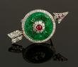 Deco Chinese Platinum, Jade, Diamond, and Ruby Pin