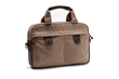 Bolt Briefcase—small, tan waxed canvas with chocolate leather details