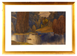 Leon Bakst (1866-1924), landscape with reflective pool, watercolor and pastel on paper, signed, dated 1921