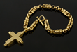 Barry Kieselstein-Cord 18K gold necklace with cross pendant, matte finish, dated 1988
