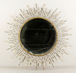 C. Jere, brutalist starburst mirror, bronze, signed C. Jere