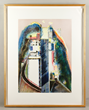 "Wayne Thiebaud (American, b. 1920), ""Steep Street,"" color spit-bite aquatint with dry point etching, edition 43/50, dated 1989"