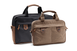 The Bolt Briefcase—Large in black ballistic nylon; Small in tan waxed-canvas