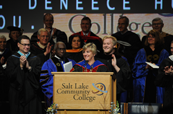 Dr. Deneece G. Huftalin is introduced as Salt Lake Community College's eighth president.