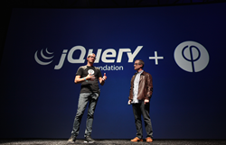 Steve Newcomb, CEO of Famo.us, with Dave Methvin, president of the jQuery Foundation