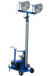 Pneumatic Light Mast Equipped with Two 1500 Watt Metal Halide Light Fixtures