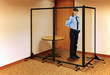 Use a Screenflex Clear Acrylic Room Divider as a security barrier