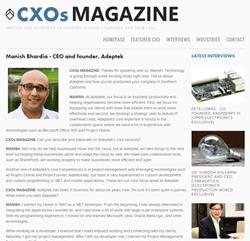CXOs Magazine interview article screenshot