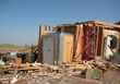 A DuPont™ StormRoom™ with Kevlar® following a direct hit by an EF-5 tornado (Courtesy of StormRooms of America).