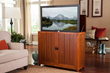 Touchstone Mission Elevate TV Lift Cabinet features recessed paneling and intricate details in the style of the Arts & Crafts movement.