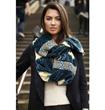 Model wearing snood scarf