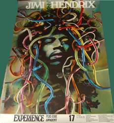 "Gunther  Kieser  ""wire hair"" rock concert poster for 1969 Jimi Hendrix German  tour"