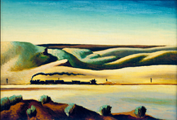 Thomas Hart Benton, Train on the Desert, Oil on Canvas Board