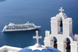 Regent Seven Seas Cruise Ship in Santorini Greece