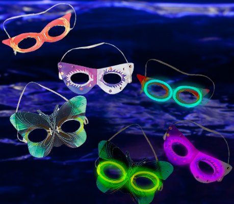 Mardi Gras Glow Masks From Glowsource