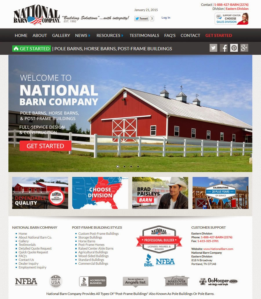 Announcing new site launch for the post frame pole barn for Building design website