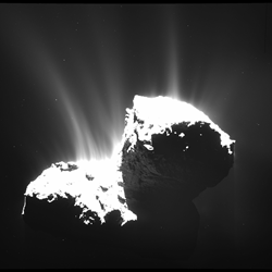 Rosetta's OSIRIS camera took this image on Nov. 22, 2014, 30 km from Comet 67P/Churyumov-Gerasimenko. The nucleus is overexposed to reveal the faint jets of activity. Photo: ESA/Rosetta/MPS for OSIRIS Team