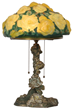 "Pairpoint Puffy Yellow Rose Table Lamp. 10 in. dia. domical puffy shade decorated with a bouquet of beautiful yellow roses on a green background; shade has a few minor chips along the bottom edge of the rim, and is stamped ""Pat. Applied For"". On a Pairpoi"