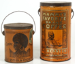 LOT 1- 2 Black American Coffee & Tobacco Tins. 6.5 in. high & 10.75 in. high.