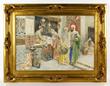 """Ettore Simonetti (Italian, 1857-1909), """"Market Scene,"""" watercolor"""