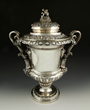 English lidded wine cooler with grape motif, sterling silver, hallmarked for London 1826/27, Rebecca Emes and Edward Barnard