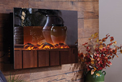 Touchstone Mirror Onyx Electric Fireplace with heat is a 50-inch wall mounted electric fireplace. The front is covered in mirrored glass, reflecting warmth and beauty in any room.