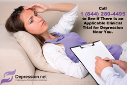 Depression.net Call us at 1 (844) 280-4495 to See if There is an Applicable Clinical Trial for Depression Near You.