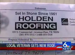 Holden Roofing Steps Up To Help Local Veteran In Need With