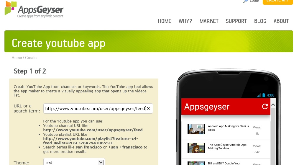 AppsGeyser Updates YouTube Android App Template