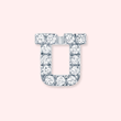 Silver Diamond Initial U Earring