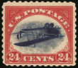 The Inverted Jenny error stamp.