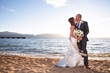 "Bride and groom enjoy sandy Lakeside Beach adjacent to The Landing Resort & Spa – a perfect venue for romantic ""first look"" photos (Photo by Indigo Photography)."