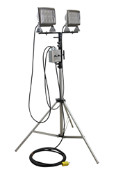 LED Flood Lights Mounted to a 3' to 10' Telescoping Tripod